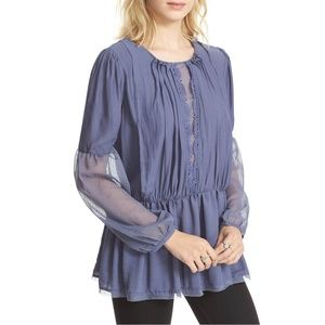 FREE PEOPLE Blue Soul Serene Tunic Shirt Blouse